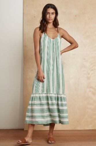 Vacation time by Velvet!  Crafted from a woven cotton jacquard that's inspired by the Costa Del Sol, this ankle skimming frock is down time perfection.  it features a drawstring in the back so you can adjust the length whilst the subtle ruching at the bust lends an easy drape.