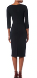 Eminently wearable navy pencil dress from Goat featuring asymmetrical front neckline with soft pleats.