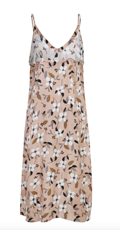 Midi dress in light silk viscose with a perfect V-neck, spaghetti straps and floral print. Wear it as it is or over a shirt or a t-shirt. Due to the material, the style can shrink a bit after washing.
