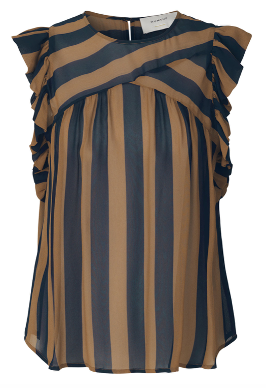 Brown/navy striped sleeveless top in light viscose with round neck and frills on the sleeves. A top that strikes the right balance between cool and feminine and is wearable both day and night.