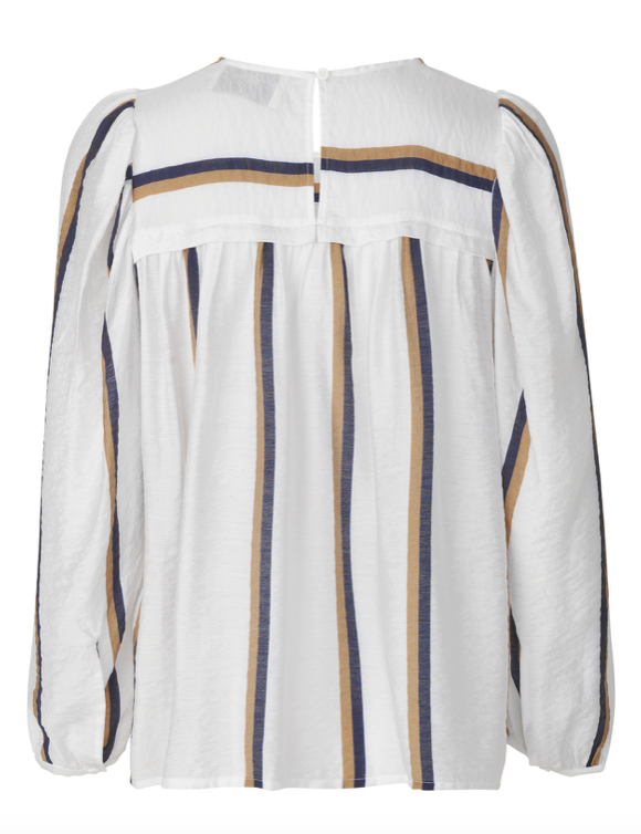 Feminine striped white top with long sleeves, round neck and wrinkle at shoulders and chest. Easy to style with jeans or a pair of tailored pants.
