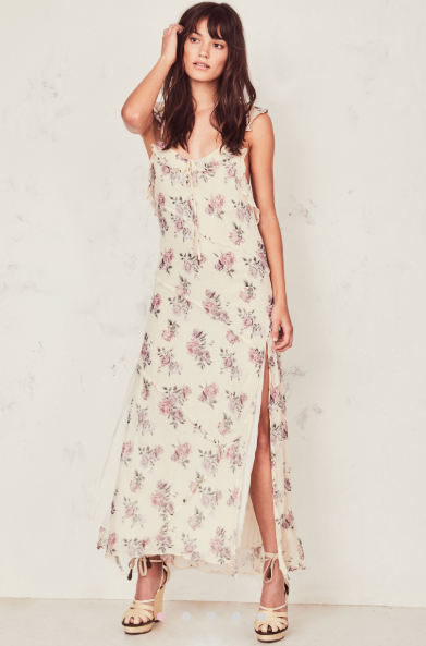 Reveal just enough in the Sally Dress in crinkle chiffon with hand-painted French roses. Our take on the classic slip dress has ruffles as straps, crossing with ties at back to expose skin. Raw-edged ruffles cascade below. A center front keyhole cinches with a tie, and a slit extends down the ankle-length skirt from mid-thigh.