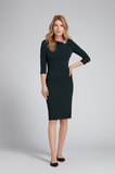 Gorgeous pencil dress from Goat in soft and flattering stretch jersey featuring an asymmetrical neckline and soft pleats.