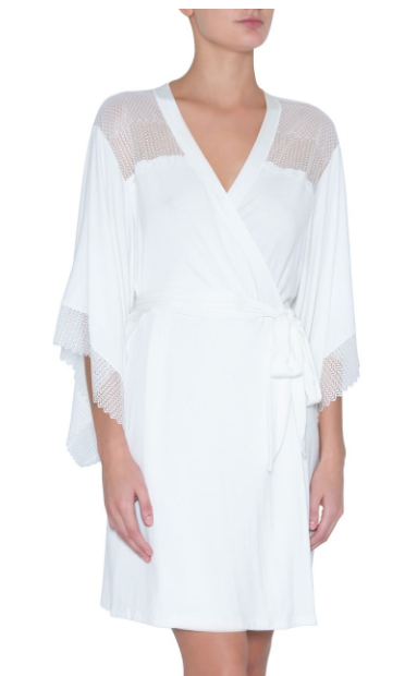 The Phoebe Kimono Robe from Eberjey has an allure all its own, with sheer stretch lace and design meant to complement your natural beauty. A wide, butterfly sleeve adds that little something extra to the inset kimono sleeve. Add the Phoebe Show Off Teddy to make it a matching set.