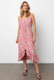 Sleeveless, V-neck, midi-length pink floral printed dress featuring thin adjustable shoulder straps, fabric covered buttons down the center front, a drawstring self-tie waistline, and a flowy bottom hem. Soft skirt lining. Feminine and flowy, this style is the perfect day-to-night dress.