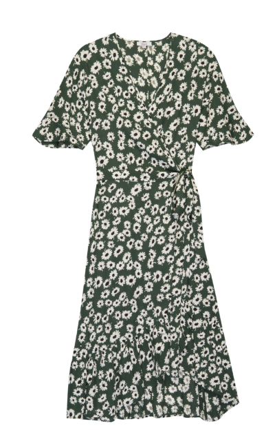 Rails Florence green midi length wrap dress featuring flowers and flirty hemline and ruffled sleeve.