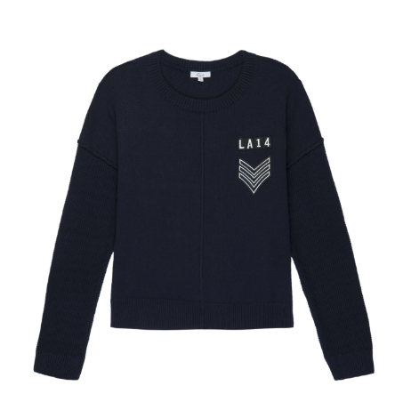 Long sleeve, cotton and cashmere, dark blue pullover crew-neck sweater with military-inspired patches.