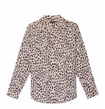 Long sleeve, 100% silk pyjama style button-down top featuring a blush coloured base with black spotted print and single chest pocket. Elevate your look in luxe silk fabrication while staying on trend with this cute and stylish print from Rails.