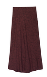 High-waisted, midi-length skirt in deep red with black spotted print and side zipper closure from Rails. This style features their brand new super soft, silk-alternative rayon featuring a deep red coloured satin back lining. This new fabric creates a slightly heavier, more formal feeling that elevates the garment as a whole. Pair with a t-shirt or over-sized sweater for an easy day time look, then just add heels for an effortless transition to night.