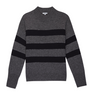 ightweight, long sleeve, dark grey, cashmere silk mock-neck sweater with silver metallic threading detail bordering black stripe from Rails. Incredible luxe and super soft, this sweater is an elevated knit that is bond to become your new favourite.