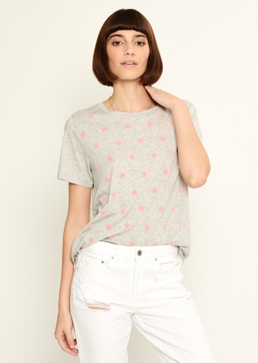 crumptiously soft cotton tee from South Parade with pink felt stars.