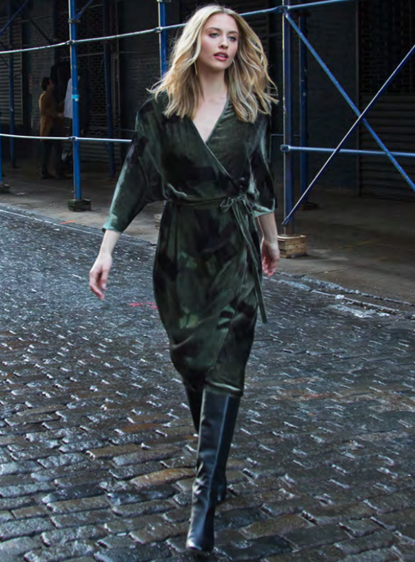Gorgeous soft velvet wrap dress from Go Silk.  Wear with boots and it will take you from day to night with style.