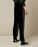 Gorgeous dark navy velvet trousers with an ever so comfortable elasticated waist band - drawstring waist and pockets at the side.