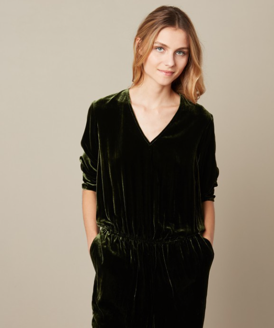 This will be your go to outfit this Autumn/Winter -done in one - the perfect jumpsuit in a gorgeous green velvet - definitely dressy enough for evening with a heel and some sparkle but perfect for day as well with a trainer.