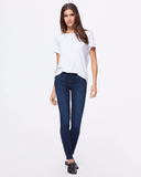 The perfect high rise skinny jean from Paige in a good medium wash with subtle whiskering and abrasion, silver hardware and black back patch.