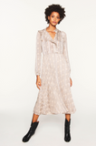 Lovely feminine dress from ba&sh with long sleeves, pleated lined skirt and ruffle detail.
