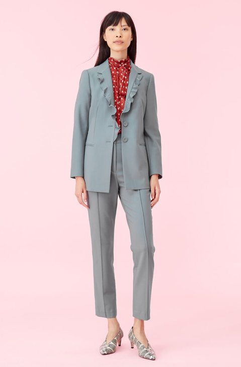 Garbardine Suiting Ruffle Jacket