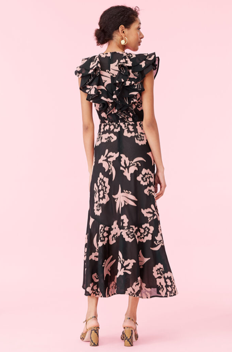 The most glamorous of dresses with blush floral hand appliques and the perfect amount of ruffle - occasion worthy.