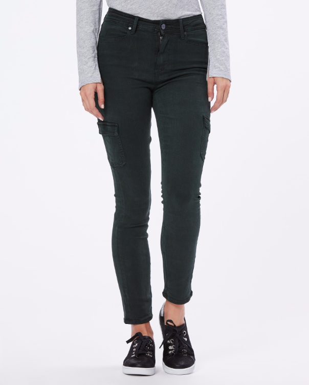 These Hoxton Skinny Cargo Trousers in a gorgeous green colour are a perfect addition to your jean collection.  A great alternative to a traditional denim - wear these as you would a jean.  They look fab with trainers but you could certainly pair them with a biker boot as an alternative.  The green colour is a great neutral and will go with just about anything you want to wear with them.