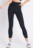 These super comfy high rise leggings with a sturdy wide waistband and an on trend soft raw cut hem are just what your work kit wardrobe requires.
