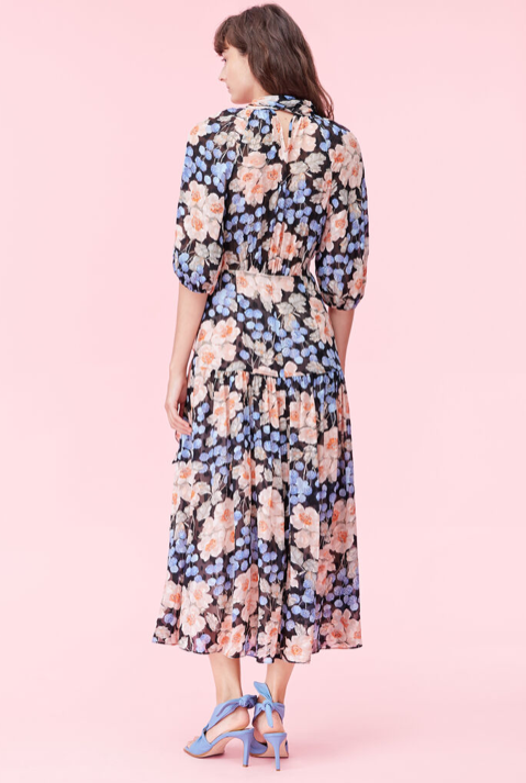 Floral Midi Dress - Blush Rose Tie Neck Clip Dress