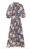 This gorgeous Floral Midi Dress with delicate balloon sleeves, a drop waist and a tie at the neck will instantly make you feel feminine and in the mood for romance.  The beautiful large blossoms in a pale colour against the black background create a luxurious look.  The midi length is universally flattering and the silk and viscose fabric feels like you're slipping into a second skin.