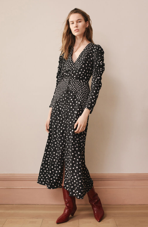 Black Midi Dress - Nova Dot Jacquard V-Neck Dress