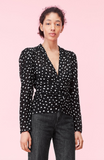 Black Top - Nova Dot V-Neck Clip Top