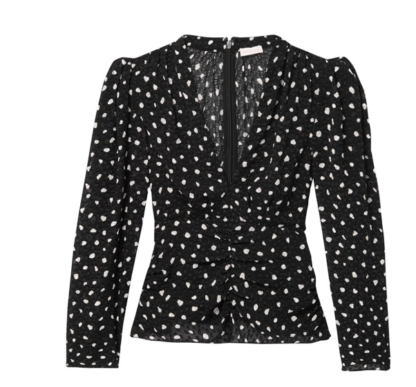 This lovely little Black Top with it's spotty print will look great with a smart trouser or coated jeans.  The deep v neckline and slightly oversized shoulders combined with the ruched waist gives an extremely flattering silhouette that will suit just about anyone.