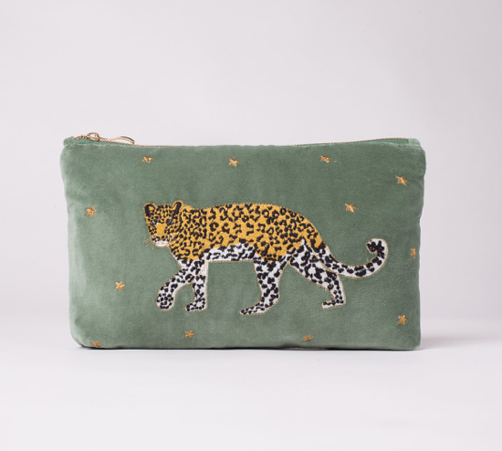 A beautiful leopard on a beautiful background of khaki velvet - sumptuously soft.  This is a great little bag with multiple uses!  Take it on holiday with you for your sun cream, pack it in your carry on with your travel documents or carry it on it's own as a bag!