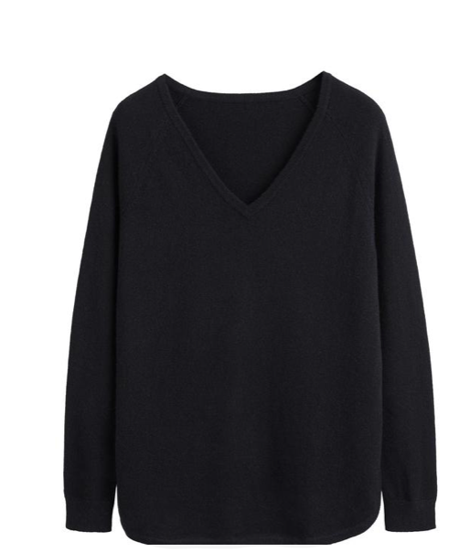 We love a basic and this snuggly soft cashmere ticks all the boxes you want ticked in a black cashmere v neck.  With a slightly relaxed shape and a shirt style drop hem this is one you will wear and wear.  Can be paired with smarter trousers or casual with your denim.  What's not to love!