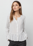 A pretty soft linen top from Rails featuring gold metallic pinstripes and shell buttons.  An easy design to wear that flatters most shapes.  Nipped in slightly at the waist with a relaxed fit over the rest of the body - a good work and weekend option.