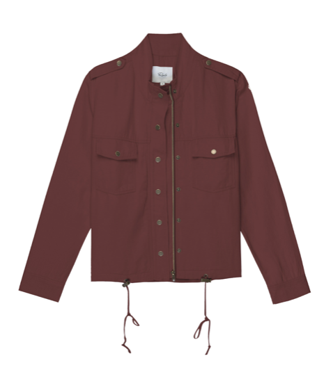 This easy to wear lightweight long sleeve jacket with zipper and snap closures and a drawstring hem with toggles is a great extra layer to throw on in the ever unpredictable English weather!  The deep red colour is very wearable and makes for easy styling with jeans and dresses or skirts.  Perfect for traveling as well.