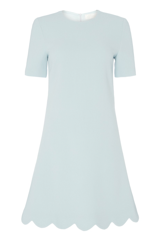 Sometimes the best things in life are incredibly simply.  This gorgeous shirt dress from Goat is exactly that.  With it's easy to wear shape, a nice round neck and short sleeves and elegant scalloping detail at the hem this is one you'll reach for time and time again.  Crafted from Goat's double wool crepe, with an invisible centre back closure and fully lined this is a fantastically made dress.
