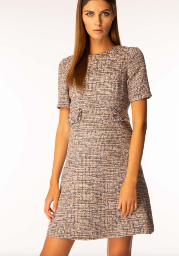 Goat have done it again!  The dress you've been waiting for.  In a gorgeous pink tweed this little shift dress will work for multiple occasions.  The neat fit and slightly a-line silhouette make this an instant classic.