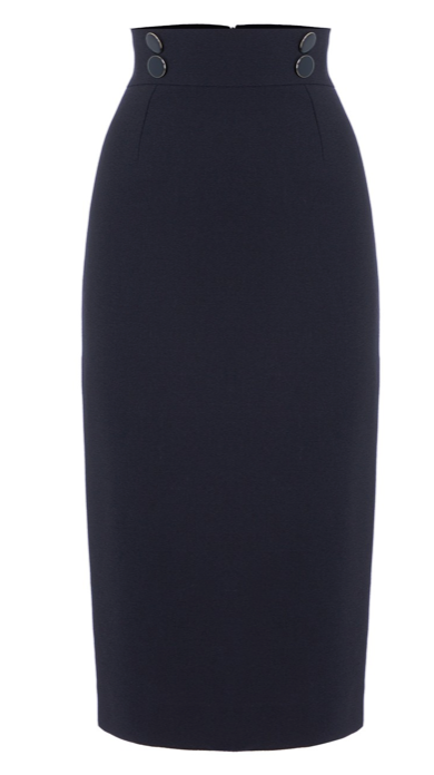 This is a refined grown up pencil skirt from Goat which falls just below the knee with gorgeous navy enamel buttons at the front waistband.  It is fully lined and will easily take you from the office to the cocktail bar.  Pair with a pretty silk blouse and a jacket and you will feel feminine and in charge.