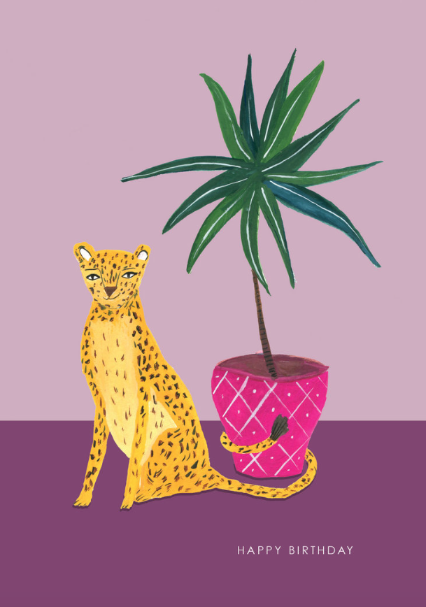 A leopard with a plant - what more could one want in a birthday card!
