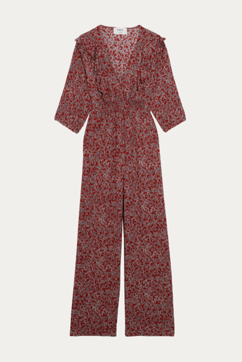 What's not to love about the Cloy Jumpsuit from ba&sh.  A feminine jumpsuit with a pretty floral print - it flows beautifully with it's seductive wide legs, v neckline and frills along the front and a flattering elasticated waistband to give shape.  Pair with or without a belt and looks equally great with a flat sandal, a trainer or a heel.