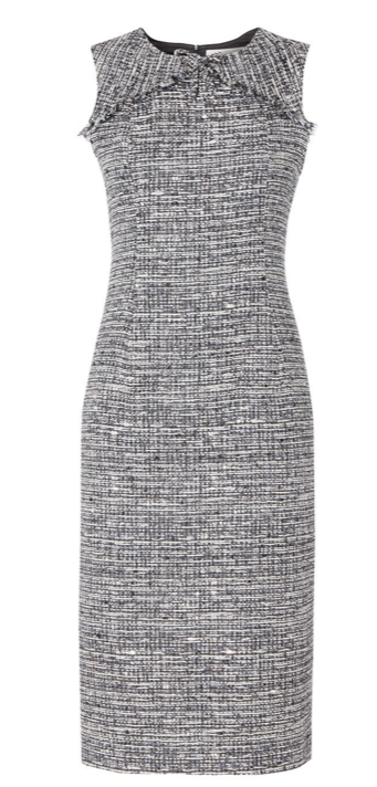 Tweed is new to Goat for Spring Summer '20 and this gorgeous pencil dress ticks all our boxes.  In a form flattering slim silhouette with a fringed trim just under the neckline the Jessica will take you from the office to a dinner party with style.  The dress is fully lined with an invisible back zip closure and is made in Great Britain.