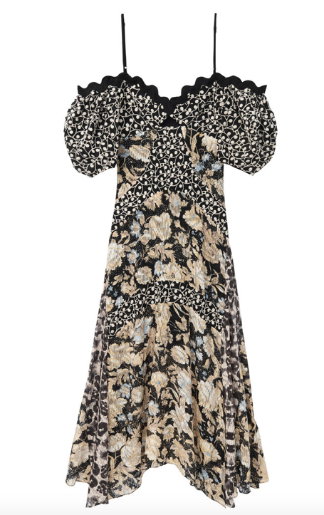 "This stunning off the shoulder dress from Rebecca Taylor will make you stand out in any crowd.  With a modern take on embroidery with a dainty vine like design this sweeping midi length dress has a mix of their gold leaf fleur and kaleidoscope prints.  With a ribbon trim and a bust cut out this is definitely a ""WOW"" dress."