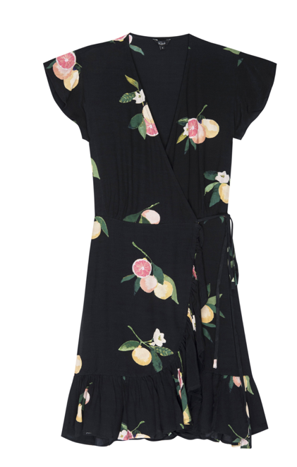 Another little beauty from Rails.  In a pretty grapefruit print (so it must be healthy!) with short flutter sleeves this lightweight crepe wrap dress wears beautifully.  A great transitional lbd to take you into the new season with style.