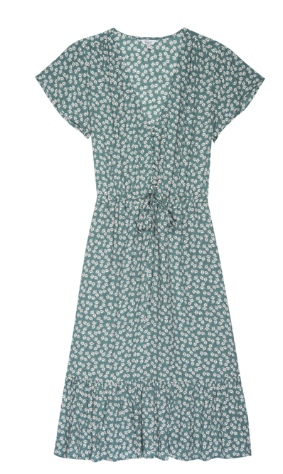 This is one of the easiest dresses you will ever own.  With short flutter sleeves, a perfect v neck, little buttons down the front and an adjustable drawstring waist there aren't many places this dress won't take you.  Put on your favourite white trainers for a relaxed day or a pretty sandal for an evening.