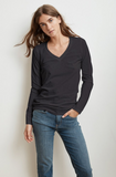 Crafted from Velvet's whisper cotton slub this long sleeve tee will be a welcome addition to every closet.  Featuring a flattering v neckline and a relaxed silhouette this is a fantastic all-rounder.