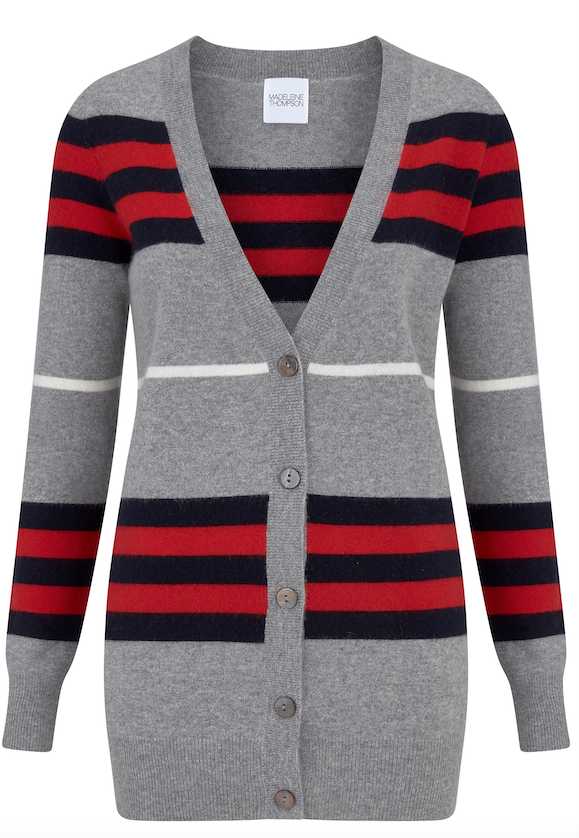 If you love a cardigan you'll definitely want this striped beauty from Madeleine Thompson.  Crafted from the softest cashmere the pop of the white stripe in the middle makes for a flattering look and makes this pair beautifully with white jeans.