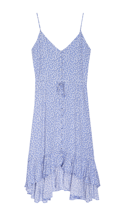 The perfect day to night dress from Rails!  In a pretty daisy floral print with adjustable spaghetti straps, buttons down the front and a drawstring waistline this is a flattering dress that is effortlessly lovely.  Pair with trainers for day and a strappy sandal for evening this is a dress that won't spend much time in your wardrobe!