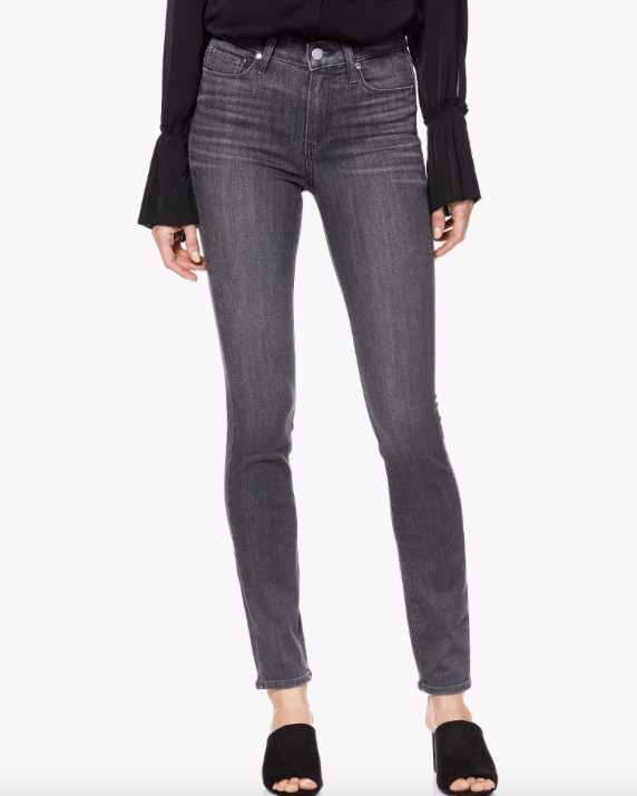 The perfect shade of grey jeans from Paige.  Crafted from their super soft transcend fabric these move with you and are everything you want in a jean.  They look great paired with a white tee and trainers for day and for an elegant evening look put on a black heel and black silky top and you are effortlessly dressed.