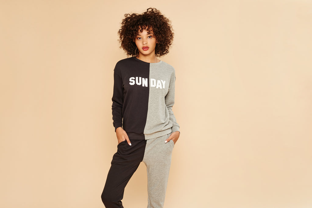 Fun sweatshirt for Sunday!  Super soft and great to relax in.
