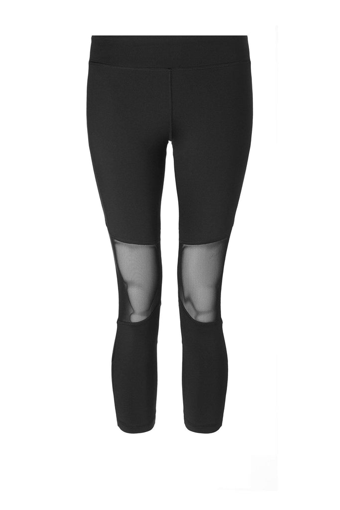 Stretchy black activewear leggings with mesh knees for detail by Varley at Peek Boutique