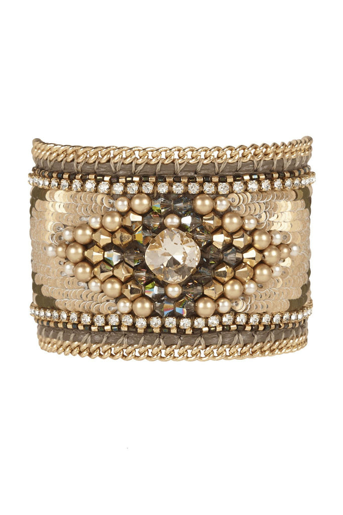 Beige and gold embellished cuff for all occasions by Buba London at Peek Boutique