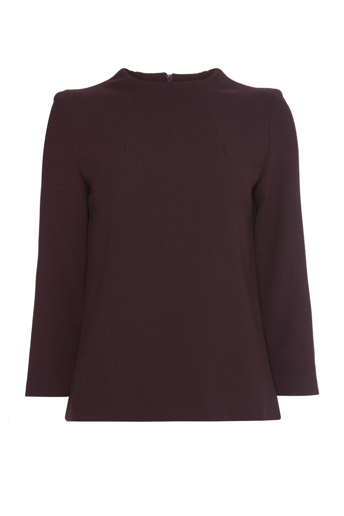 Wooden form fitted long sleeve burgundy blouse by Goat at Peek Boutique